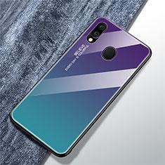 Silikon Schutzhülle Rahmen Tasche Hülle Spiegel Farbverlauf Regenbogen für Samsung Galaxy A40 Hellblau