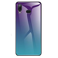 Silikon Schutzhülle Rahmen Tasche Hülle Spiegel Farbverlauf Regenbogen für Samsung Galaxy A6s Cyan