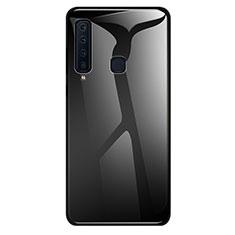 Silikon Schutzhülle Rahmen Tasche Hülle Spiegel Farbverlauf Regenbogen für Samsung Galaxy A9s Schwarz
