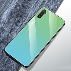 Silikon Schutzhülle Rahmen Tasche Hülle Spiegel Farbverlauf Regenbogen für Samsung Galaxy Note 10 Cyan