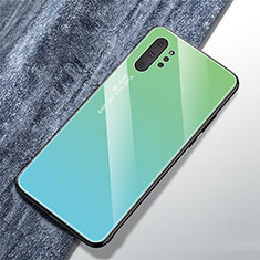 Silikon Schutzhülle Rahmen Tasche Hülle Spiegel Farbverlauf Regenbogen für Samsung Galaxy Note 10 Plus 5G Cyan