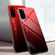 Silikon Schutzhülle Rahmen Tasche Hülle Spiegel Farbverlauf Regenbogen für Samsung Galaxy S20 Plus 5G Rot