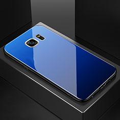 Silikon Schutzhülle Rahmen Tasche Hülle Spiegel Farbverlauf Regenbogen für Samsung Galaxy S7 Edge G935F Blau
