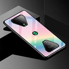 Silikon Schutzhülle Rahmen Tasche Hülle Spiegel Farbverlauf Regenbogen für Xiaomi Black Shark 3 Pro Rosa