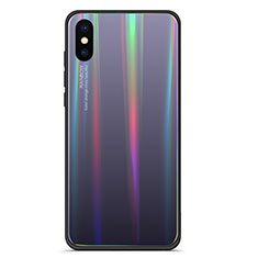 Silikon Schutzhülle Rahmen Tasche Hülle Spiegel Farbverlauf Regenbogen für Xiaomi Mi 8 Explorer Grau