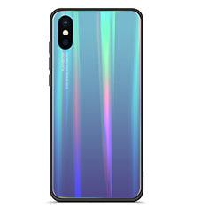 Silikon Schutzhülle Rahmen Tasche Hülle Spiegel Farbverlauf Regenbogen für Xiaomi Mi 8 Pro Global Version Blau