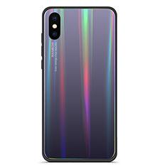 Silikon Schutzhülle Rahmen Tasche Hülle Spiegel Farbverlauf Regenbogen für Xiaomi Mi 8 Pro Global Version Grau
