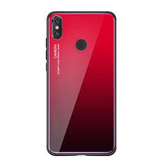 Silikon Schutzhülle Rahmen Tasche Hülle Spiegel Farbverlauf Regenbogen für Xiaomi Mi 8 SE Rot