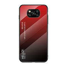 Silikon Schutzhülle Rahmen Tasche Hülle Spiegel Farbverlauf Regenbogen für Xiaomi Poco X3 NFC Rot