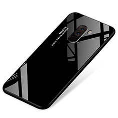 Silikon Schutzhülle Rahmen Tasche Hülle Spiegel Farbverlauf Regenbogen für Xiaomi Pocophone F1 Schwarz