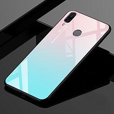 Silikon Schutzhülle Rahmen Tasche Hülle Spiegel Farbverlauf Regenbogen für Xiaomi Redmi 7 Cyan