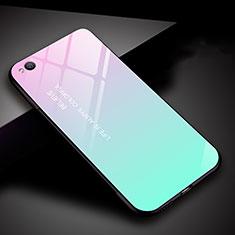 Silikon Schutzhülle Rahmen Tasche Hülle Spiegel Farbverlauf Regenbogen für Xiaomi Redmi Go Cyan