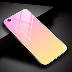 Silikon Schutzhülle Rahmen Tasche Hülle Spiegel Farbverlauf Regenbogen für Xiaomi Redmi Go Rosa