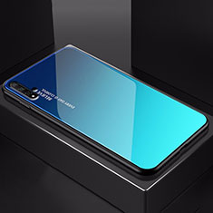 Silikon Schutzhülle Rahmen Tasche Hülle Spiegel Farbverlauf Regenbogen H01 für Huawei Honor 20 Blau