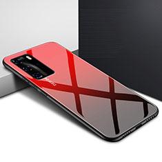 Silikon Schutzhülle Rahmen Tasche Hülle Spiegel Farbverlauf Regenbogen H01 für Huawei P40 Pro Rot