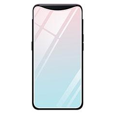 Silikon Schutzhülle Rahmen Tasche Hülle Spiegel Farbverlauf Regenbogen H01 für Oppo Find X Cyan