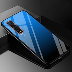 Silikon Schutzhülle Rahmen Tasche Hülle Spiegel Farbverlauf Regenbogen H01 für Oppo Find X2 Pro Blau
