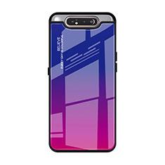 Silikon Schutzhülle Rahmen Tasche Hülle Spiegel Farbverlauf Regenbogen H01 für Samsung Galaxy A80 Pink