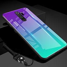 Silikon Schutzhülle Rahmen Tasche Hülle Spiegel Farbverlauf Regenbogen H01 für Xiaomi Redmi Note 8 Pro Cyan