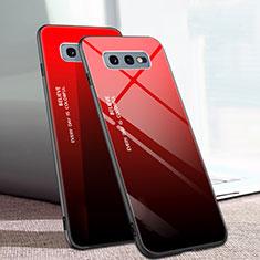 Silikon Schutzhülle Rahmen Tasche Hülle Spiegel Farbverlauf Regenbogen H02 für Samsung Galaxy S10e Rot