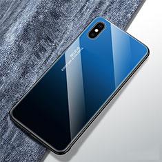 Silikon Schutzhülle Rahmen Tasche Hülle Spiegel Farbverlauf Regenbogen M01 für Apple iPhone X Blau