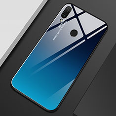 Silikon Schutzhülle Rahmen Tasche Hülle Spiegel Farbverlauf Regenbogen M01 für Huawei Enjoy 9 Plus Blau
