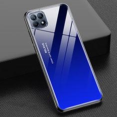 Silikon Schutzhülle Rahmen Tasche Hülle Spiegel Farbverlauf Regenbogen M01 für Oppo Reno4 SE 5G Blau