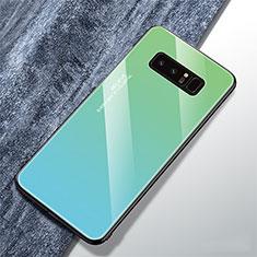 Silikon Schutzhülle Rahmen Tasche Hülle Spiegel Farbverlauf Regenbogen M01 für Samsung Galaxy Note 8 Cyan
