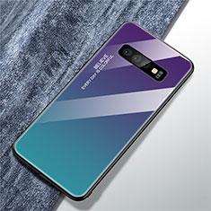 Silikon Schutzhülle Rahmen Tasche Hülle Spiegel Farbverlauf Regenbogen M01 für Samsung Galaxy S10 Plusfarbig