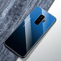 Silikon Schutzhülle Rahmen Tasche Hülle Spiegel Farbverlauf Regenbogen M01 für Samsung Galaxy S9 Plus Blau