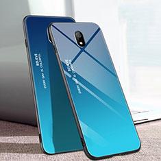 Silikon Schutzhülle Rahmen Tasche Hülle Spiegel Farbverlauf Regenbogen M01 für Xiaomi Redmi 8A Blau