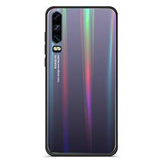 Silikon Schutzhülle Rahmen Tasche Hülle Spiegel Farbverlauf Regenbogen M02 für Huawei P30 Schwarz
