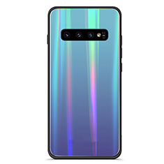 Silikon Schutzhülle Rahmen Tasche Hülle Spiegel Farbverlauf Regenbogen M02 für Samsung Galaxy S10 Blau