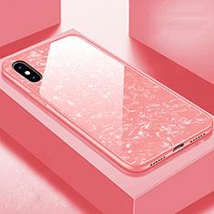 Silikon Schutzhülle Rahmen Tasche Hülle Spiegel für Apple iPhone X Rosegold