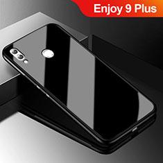 Silikon Schutzhülle Rahmen Tasche Hülle Spiegel für Huawei Enjoy 9 Plus Schwarz
