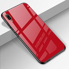 Silikon Schutzhülle Rahmen Tasche Hülle Spiegel für Huawei Enjoy 9e Rot