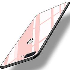 Silikon Schutzhülle Rahmen Tasche Hülle Spiegel für Huawei Honor 9i Rosa