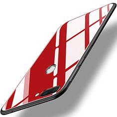 Silikon Schutzhülle Rahmen Tasche Hülle Spiegel für Huawei Honor 9i Rot