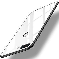 Silikon Schutzhülle Rahmen Tasche Hülle Spiegel für Huawei Honor 9i Weiß