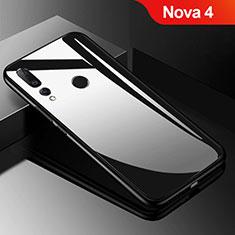 Silikon Schutzhülle Rahmen Tasche Hülle Spiegel für Huawei Nova 4 Schwarz