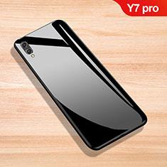 Silikon Schutzhülle Rahmen Tasche Hülle Spiegel für Huawei Y7 (2019) Schwarz