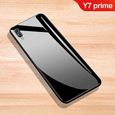 Silikon Schutzhülle Rahmen Tasche Hülle Spiegel für Huawei Y7 Prime (2019) Schwarz