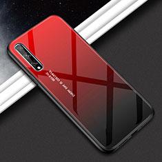 Silikon Schutzhülle Rahmen Tasche Hülle Spiegel für Huawei Y8p Rot