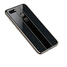 Silikon Schutzhülle Rahmen Tasche Hülle Spiegel für Huawei Y9 (2018) Schwarz