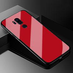 Silikon Schutzhülle Rahmen Tasche Hülle Spiegel für LG G7 Rot