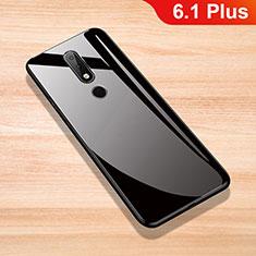 Silikon Schutzhülle Rahmen Tasche Hülle Spiegel für Nokia 6.1 Plus Schwarz