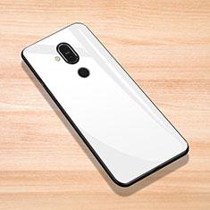 Silikon Schutzhülle Rahmen Tasche Hülle Spiegel für Nokia 7.1 Plus Weiß