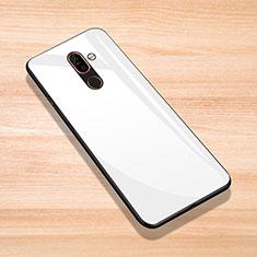 Silikon Schutzhülle Rahmen Tasche Hülle Spiegel für Nokia 7 Plus Weiß