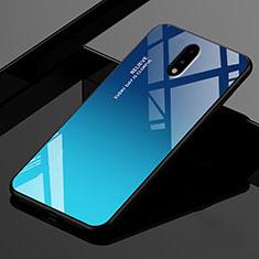 Silikon Schutzhülle Rahmen Tasche Hülle Spiegel für OnePlus 7 Blau