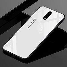 Silikon Schutzhülle Rahmen Tasche Hülle Spiegel für OnePlus 7 Weiß